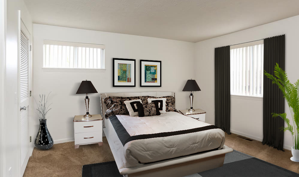 Bedroom at CenterPointe Apartments and Townhomes home in Canandaigua, New York