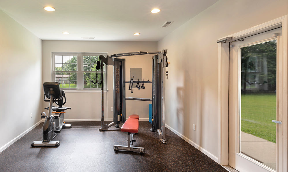 Eagle Meadows Apartments offers a fitness center in Dover, Delaware