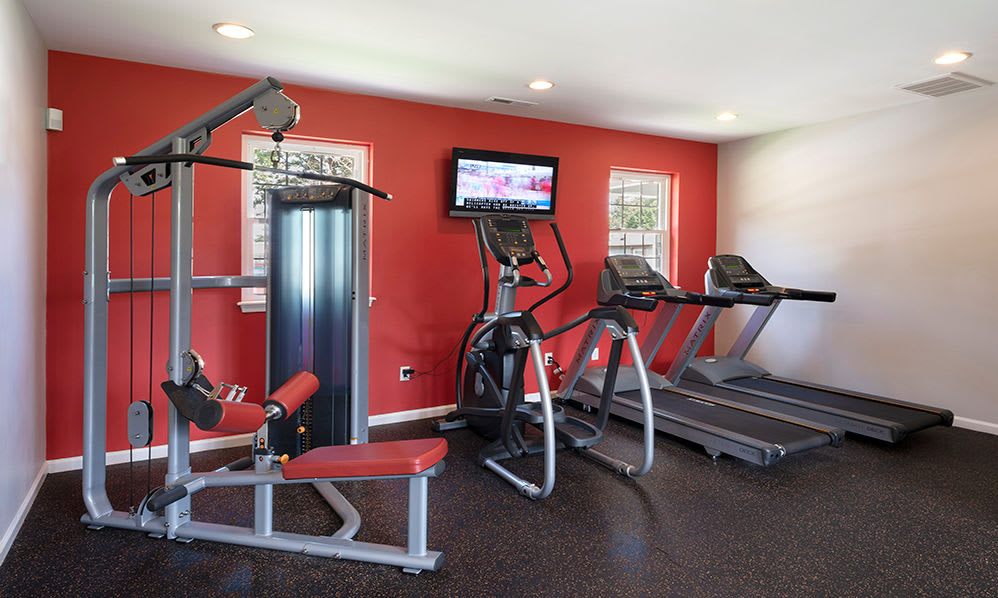 Fully equipped fitness center at Eagle Meadows Apartments in Dover, Delaware