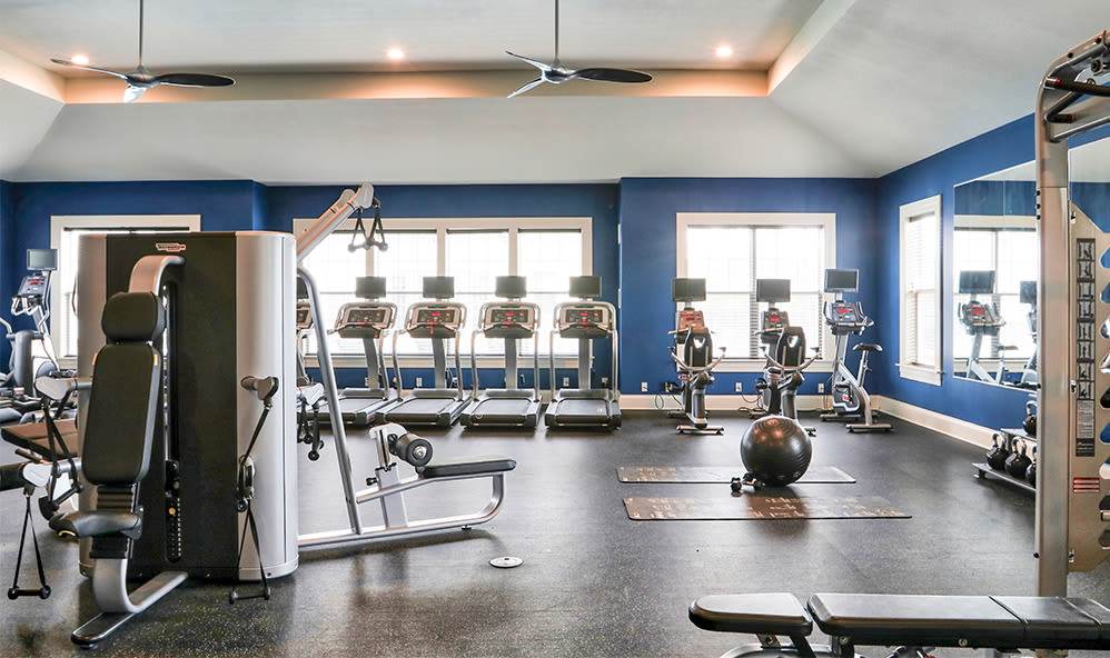 State-of-the-art fitness center at Fairview at Town Center Apartment Homes in Rochester, New York
