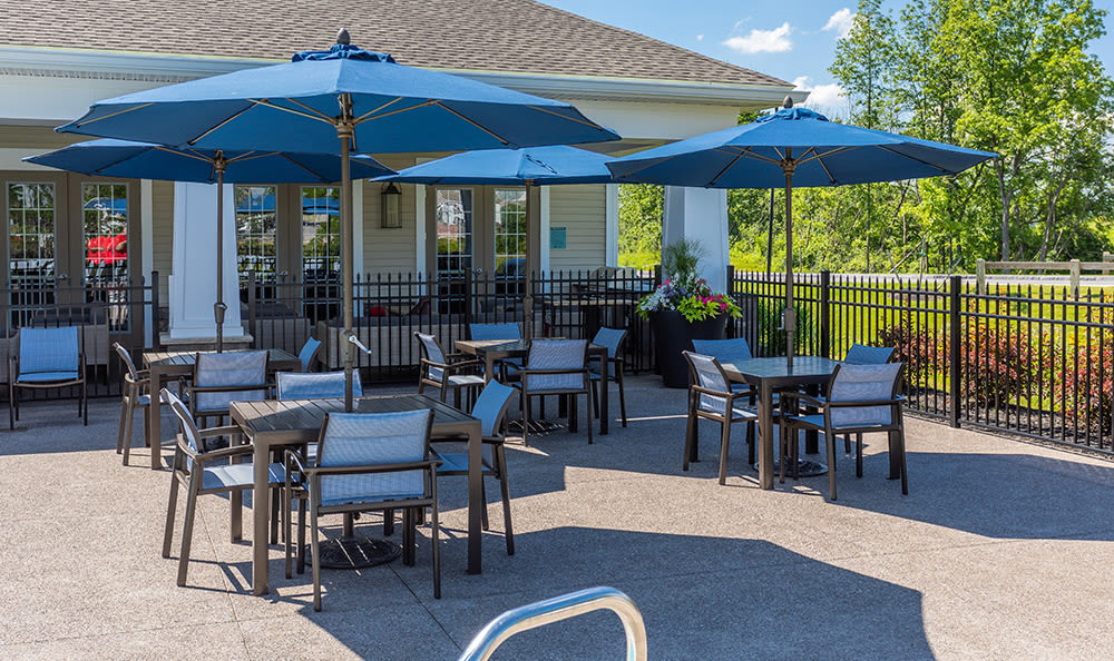 Clubhouse patio at Fairview at Town Center Apartment Homes in Rochester, New York