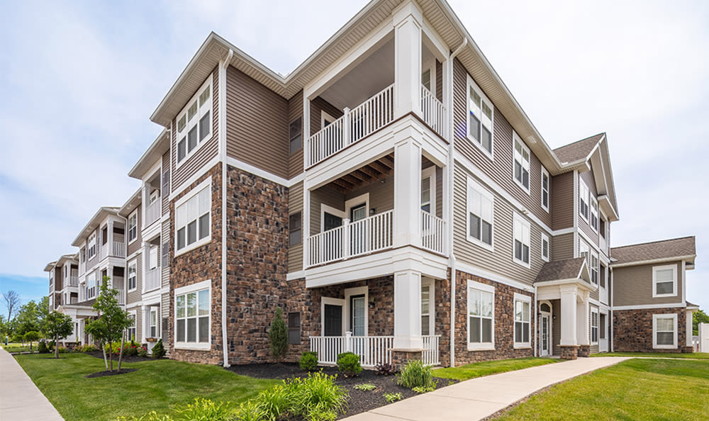 Modern exterior of Fairview at Town Center Apartment Homes in Rochester, New York