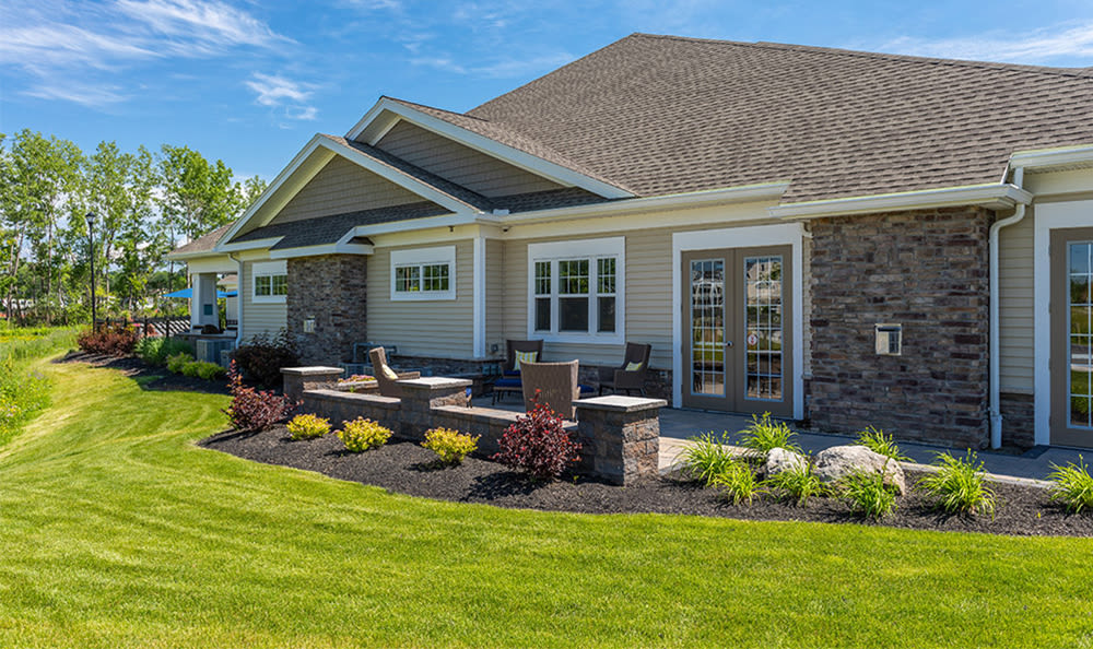 Lush landscaping at Fairview at Town Center Apartment Homes in Rochester, New York