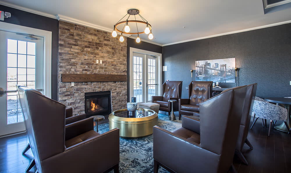 Fireplace at our luxury apartments & townhomes at Fairview at Town Center Apartment Homes in Rochester, New York