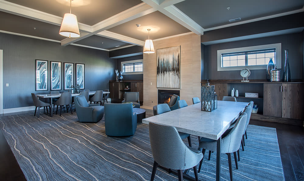 Clubhouse dining area at Fairview at Town Center Apartment Homes in Rochester, New York