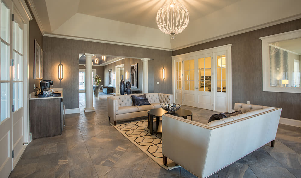 Spaicous living room at Fairview at Town Center Apartment Homes in Rochester, New York