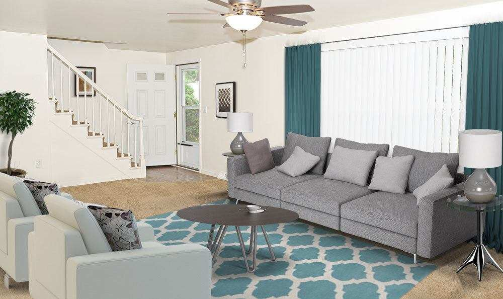 Our Green Lake Apartments & Townhomes in Orchard Park, New York have a cozy living room