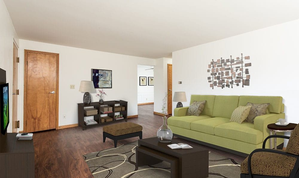 Bright living room at Green Lake Apartments & Townhomes in Orchard Park, New York