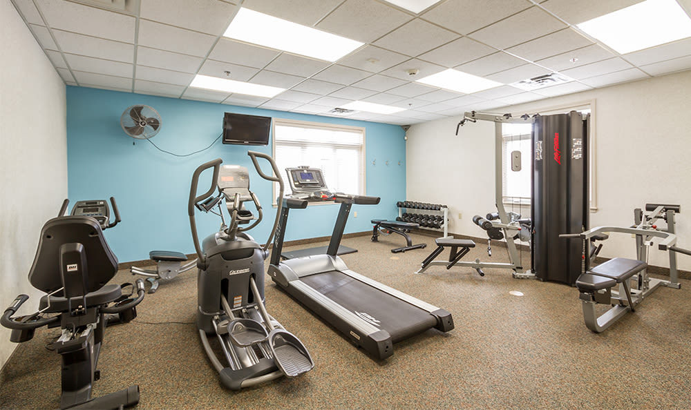Stay healthy in our fitness center at Highview Manor Apartments in Fairport, New York