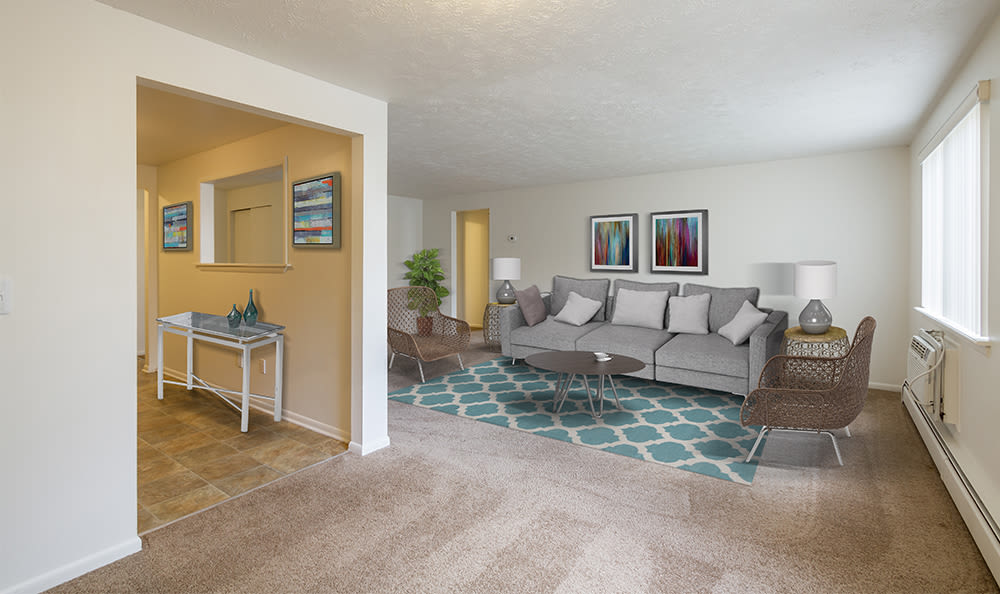 Living room at Highview Manor Apartments in Fairport, New York