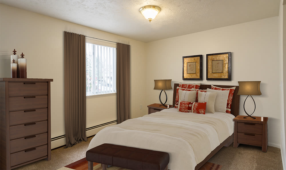 Highview Manor Apartments offers a cozy bedroom in Fairport, New York