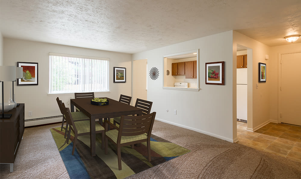 Spacious dining room at Highview Manor Apartments in Fairport, New York