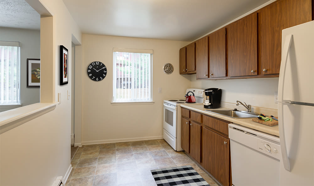 Enjoy a beautiful kitchen at Highview Manor Apartments in Fairport, New York