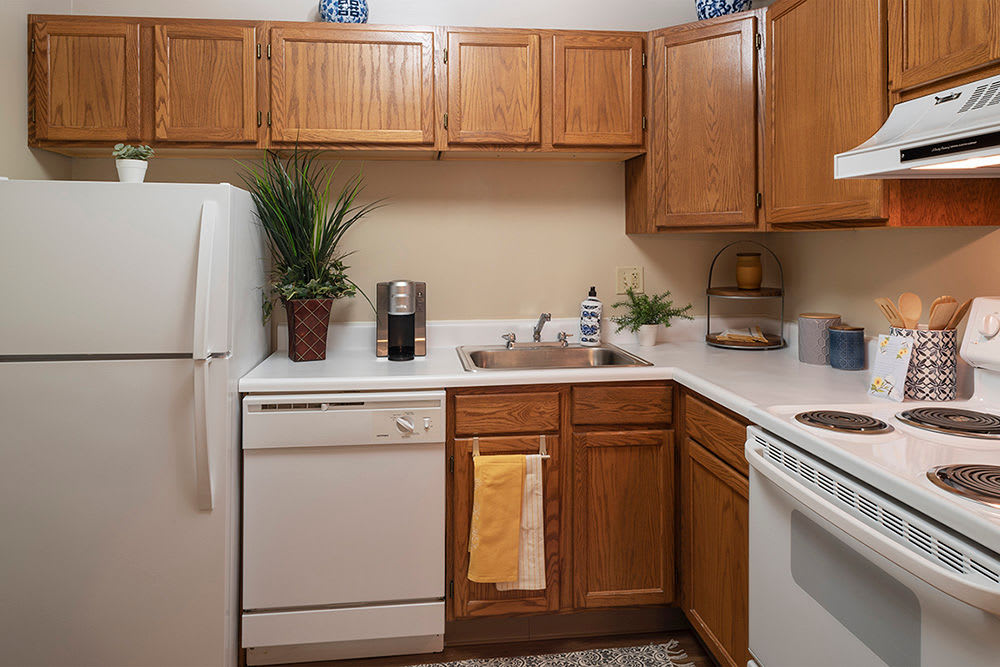 Bright kitchen at Maiden Bridge & Canongate Apartments in Pittsburgh, Pennsylvania