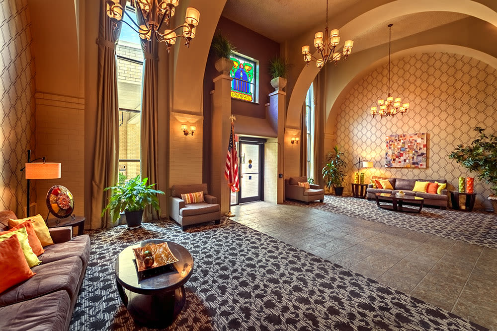 Unique lobby at Maiden Bridge & Canongate Apartments in Pittsburgh, Pennsylvania