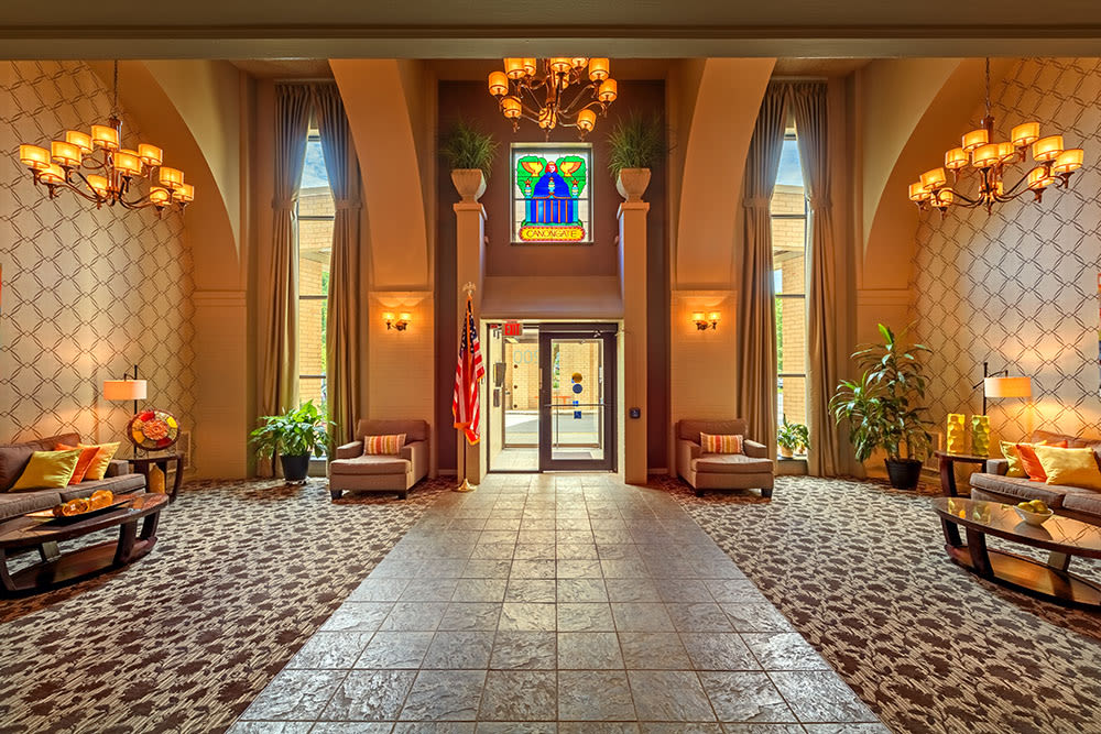 Beautiful lobby and seating area at Maiden Bridge & Canongate Apartments in Pittsburgh, Pennsylvania