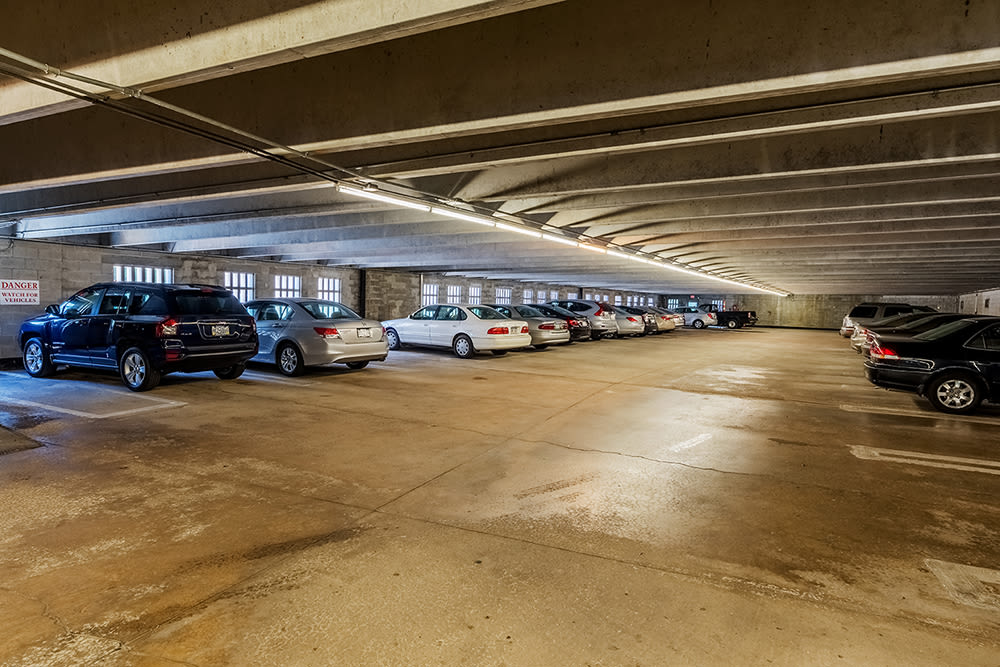 Parking garage at Maiden Bridge & Canongate Apartments in Pittsburgh, Pennsylvania