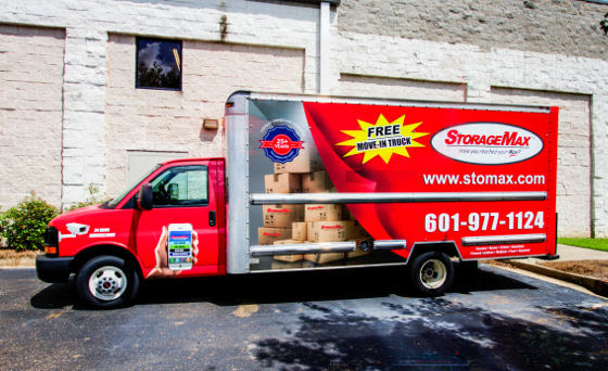 A moving truck at StorageMax Baton Rouge in Baton Rouge, Louisiana