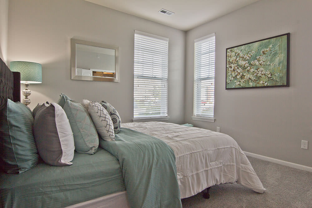 Master bedroom at Overlook Apartments in Elsmere, Kentucky
