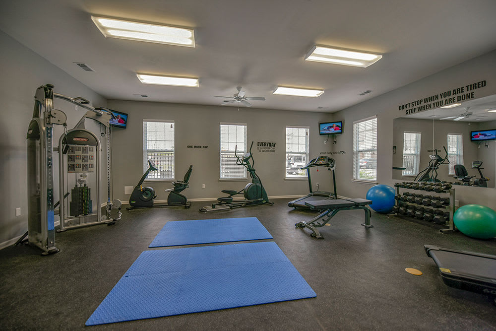 Fully equipped fitness center at Overlook Apartments in Elsmere, Kentucky
