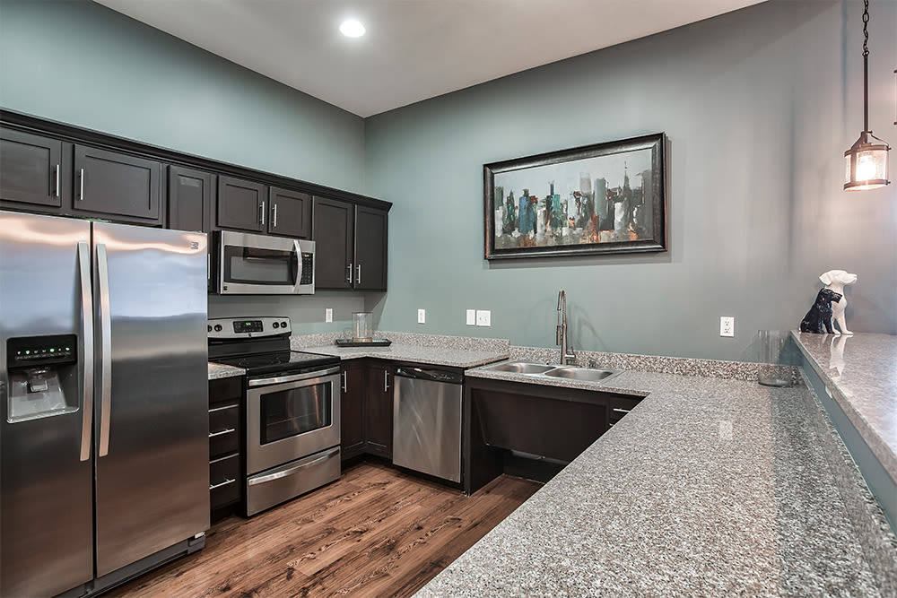 Clubhouse kitchen at Overlook Apartments in Elsmere, Kentucky