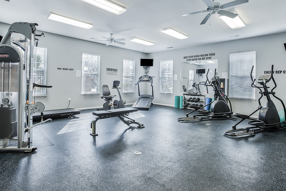 Fitness center at Overlook Apartments in Elsmere, Kentucky