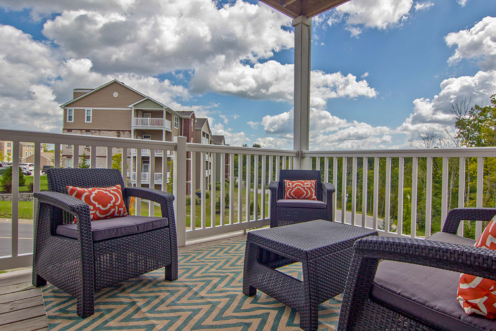 Private balcony at Overlook Apartments in Elsmere , Kentucky