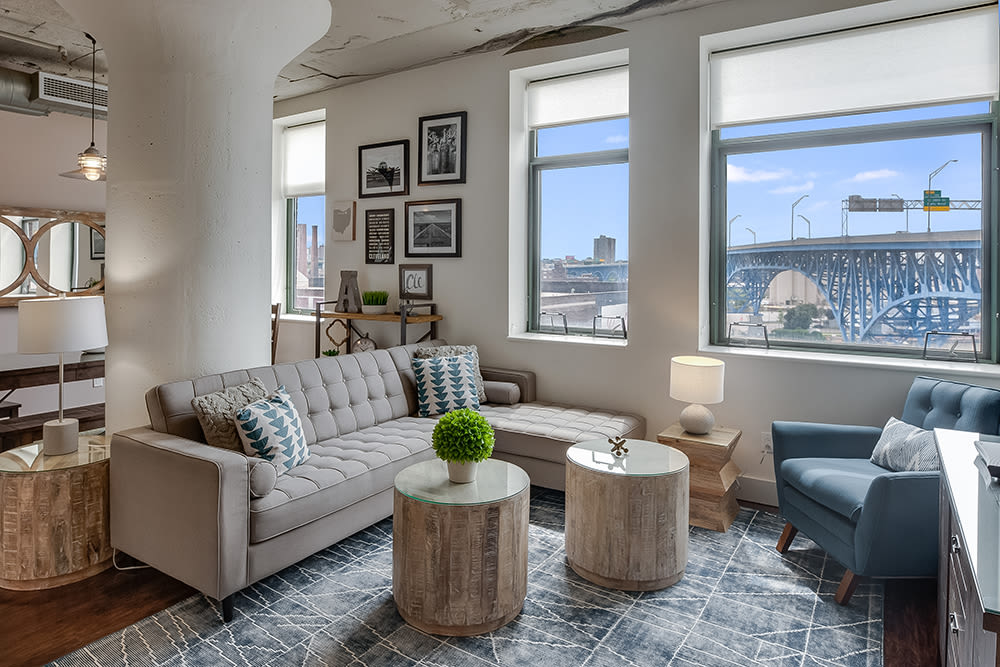 Enjoy a luxury living room at The Archer in Cleveland, Ohio