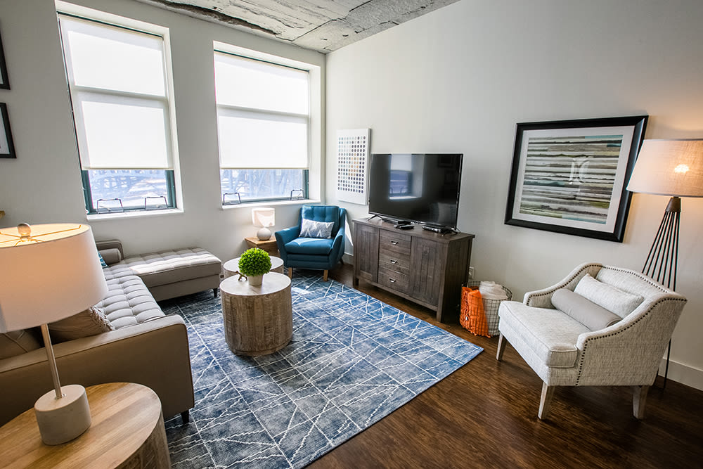 Enjoy apartments with a spacious living room at The Archer in Cleveland, Ohio