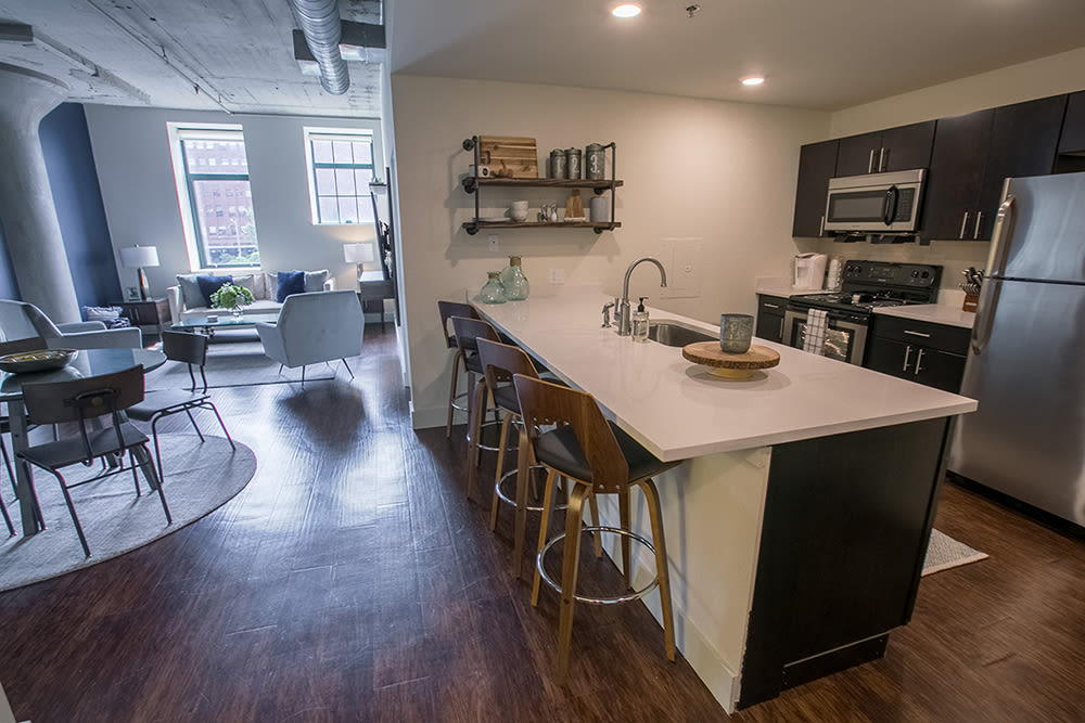 Our apartments at The Archer in Cleveland, Ohio showcase a beautiful kitchen