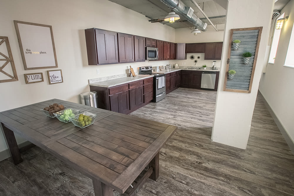 Beautiful community kitchen at The Archer in Cleveland, Ohio