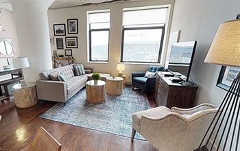 Virtual tour of a two bedroom apartment at The Archer in Cleveland, Ohio