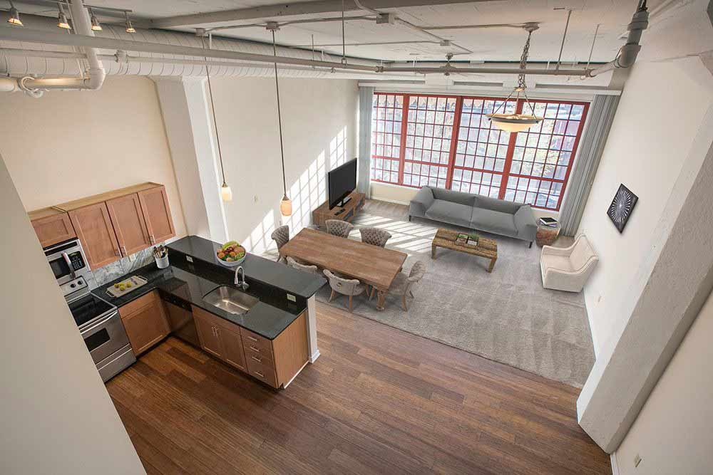 Open floor plans available at The Bingham in Cleveland, Ohio