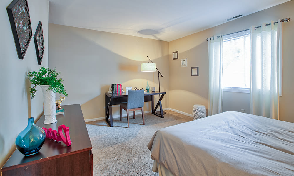 Naturally well-lit bedroom at The Lakes at 8201 in Merrillville, Indiana