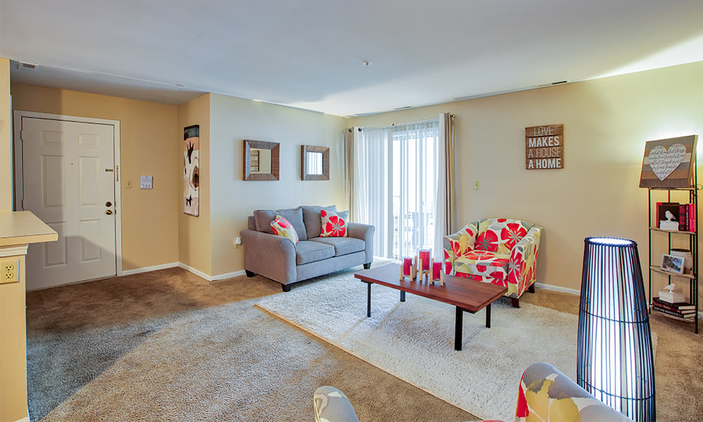 Living room at The Lakes at 8201 in Merrillville, Indiana