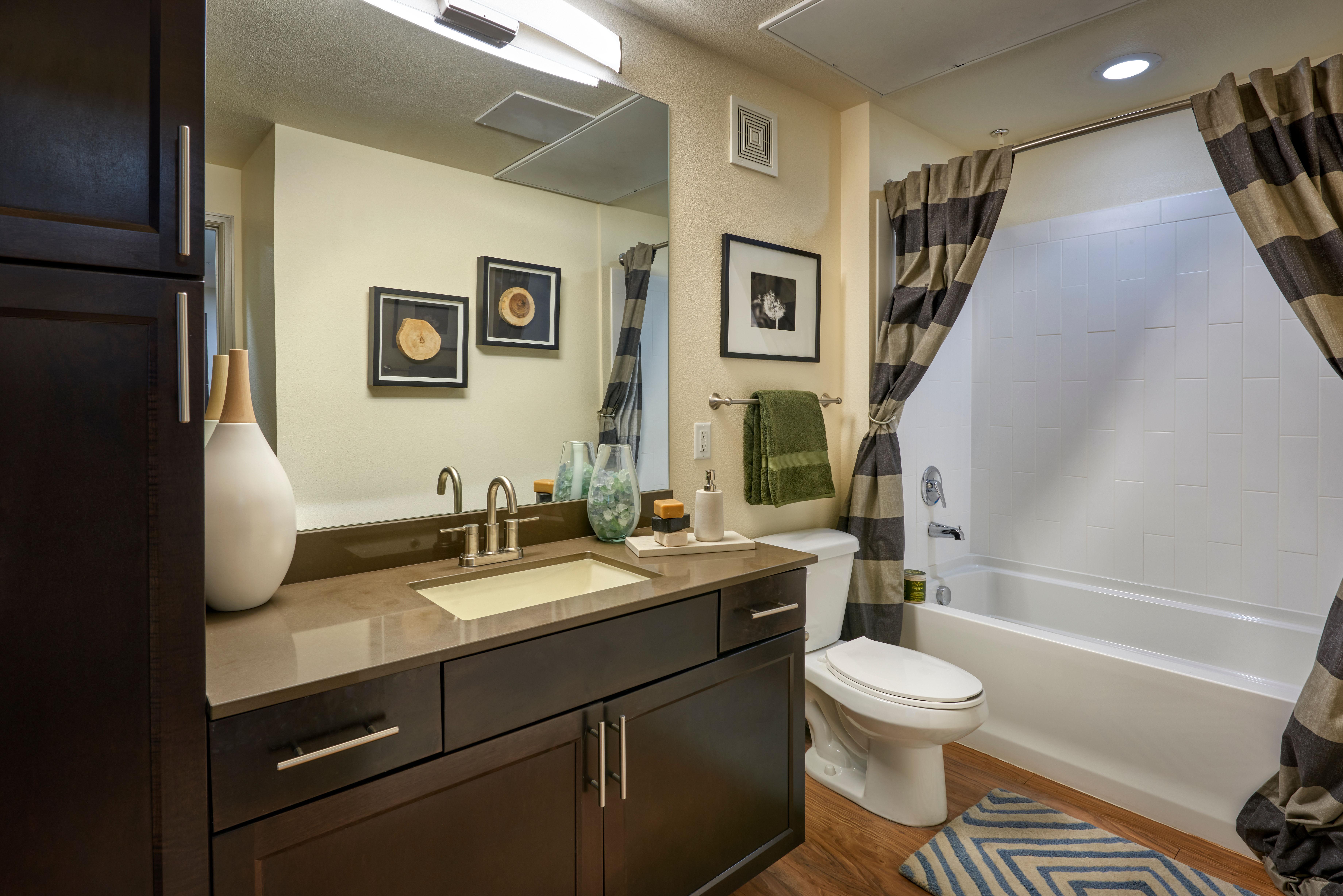 A comfortable restroom at M2 Apartments in Denver, Colorado