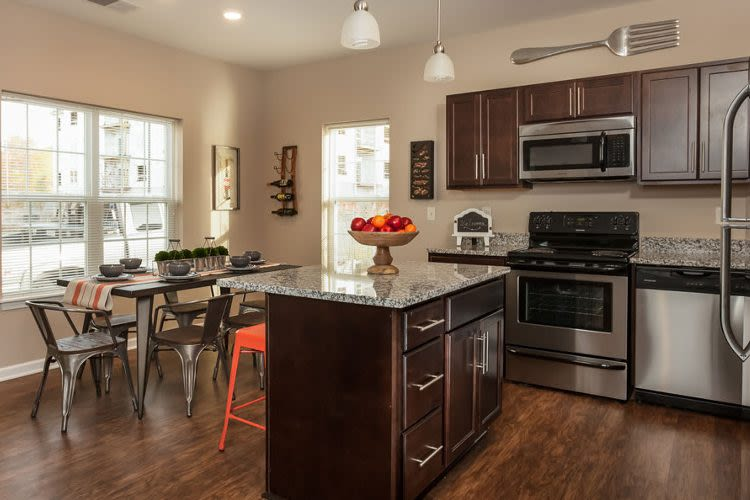 Upgraded kitchen at Waters Edge Apartments in Webster, New York