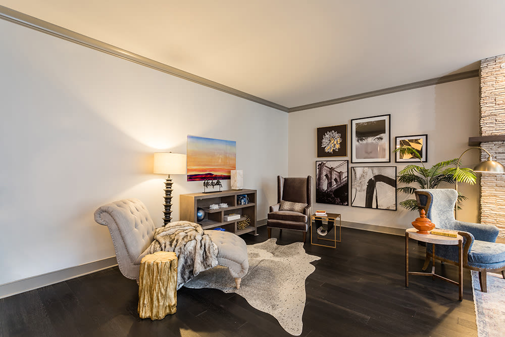 Enjoy apartments with a unique living room at Waters Edge Apartments in Webster, New York