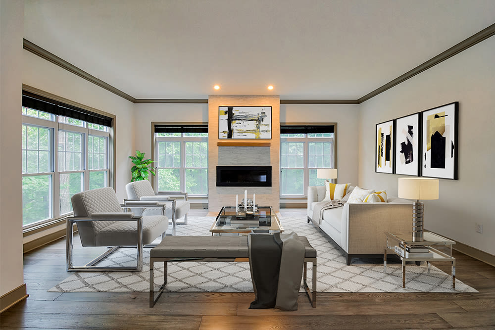A living room that is great for entertaining at Waters Edge Apartments in Webster, New York