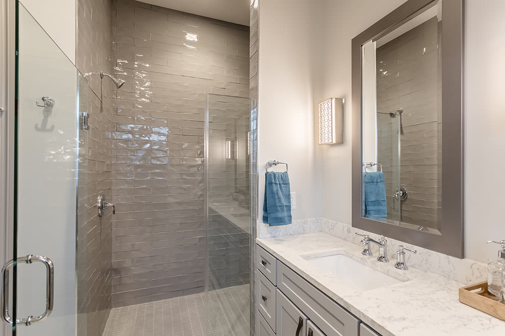 Waters Edge Apartments offers a renovated bathroom in Webster, New York