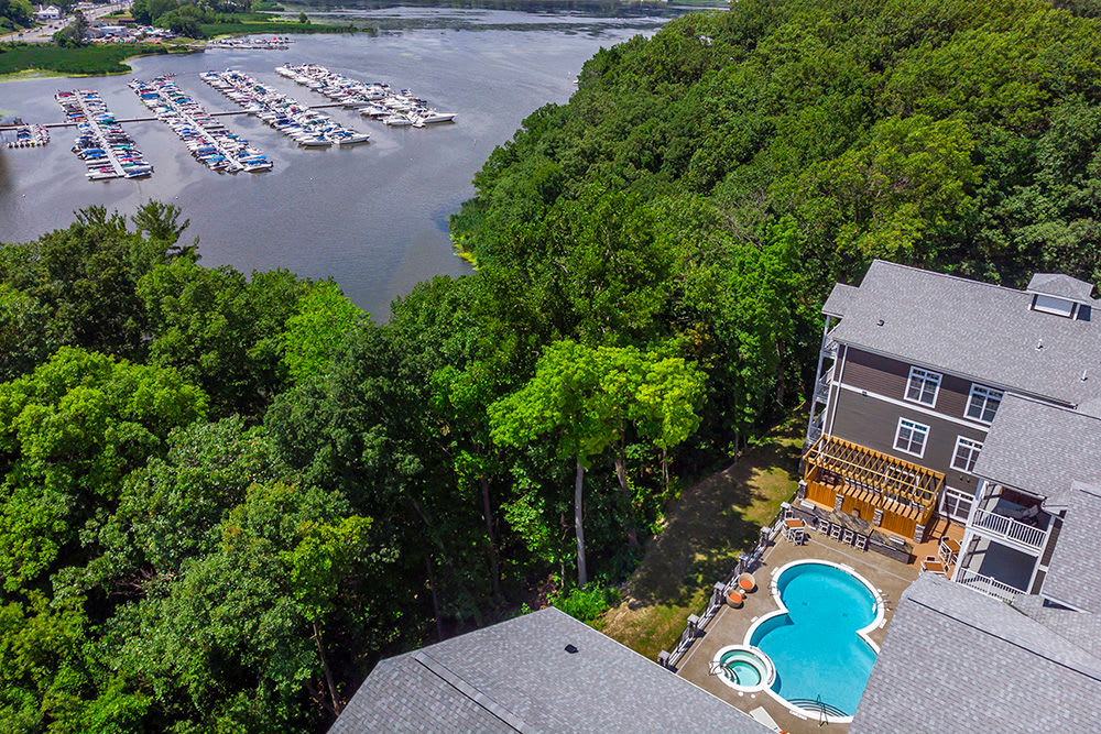 Aerial View of swimming pool at Waters Edge Apartments in Webster, New York