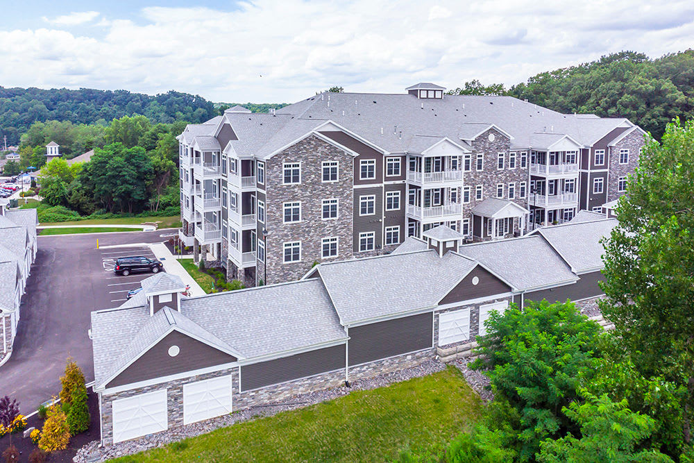 Aerial View of apartment buildings at Waters Edge Apartments in Webster, New York