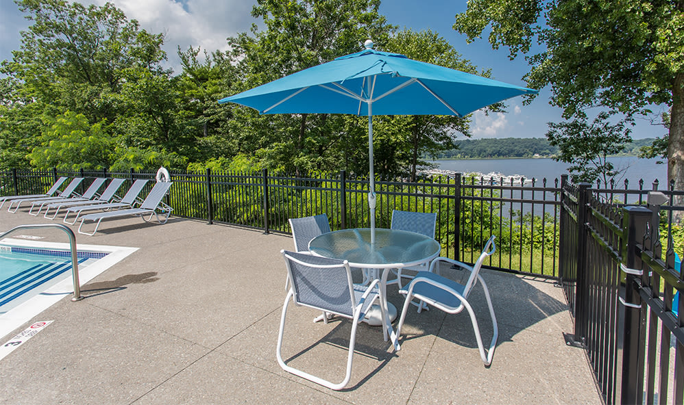 Covered seating at Waters Edge Apartments in Webster, New York