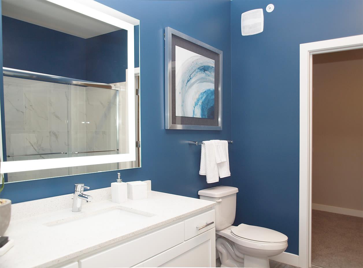 Cozy bathroom at Allure Apartments in Centerville, Ohio