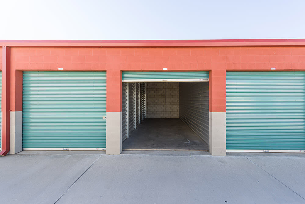 An opened outdoor unit at Chino Self Storage in Chino, California