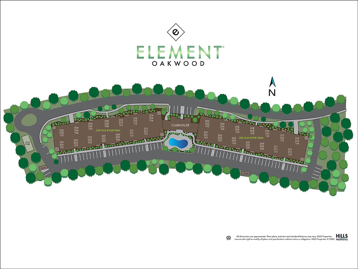 Site map of Element Oakwood in Dayton, Ohio
