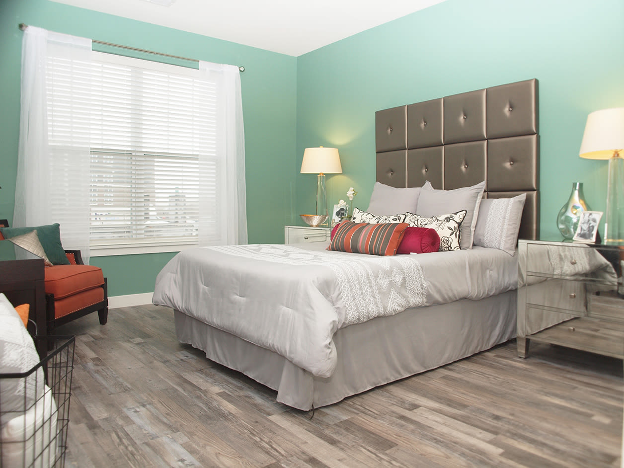 Well lit bedroom at Allure Apartments in Centerville, Ohio