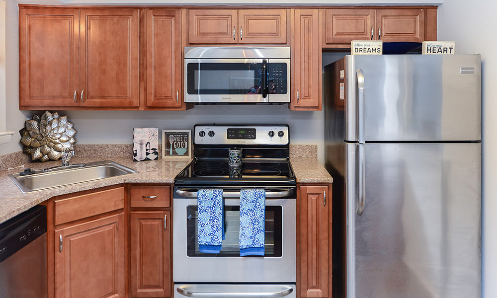 Recently upgraded kitchens at Moorestowne Woods Apartment Homes in Moorestown, NJ