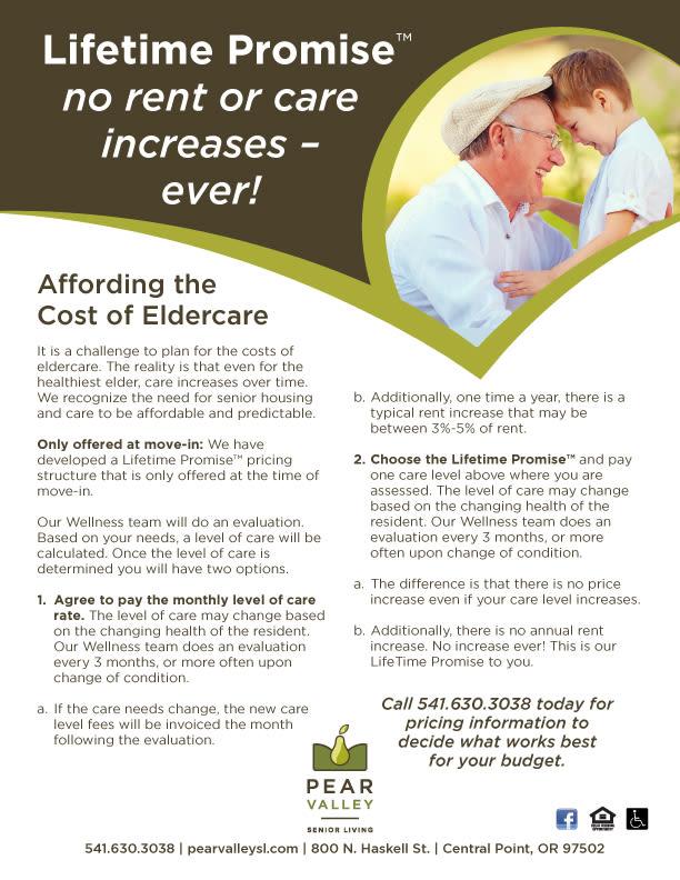 eldercare sheet for Pear Valley Senior Living in Central Point, Oregon