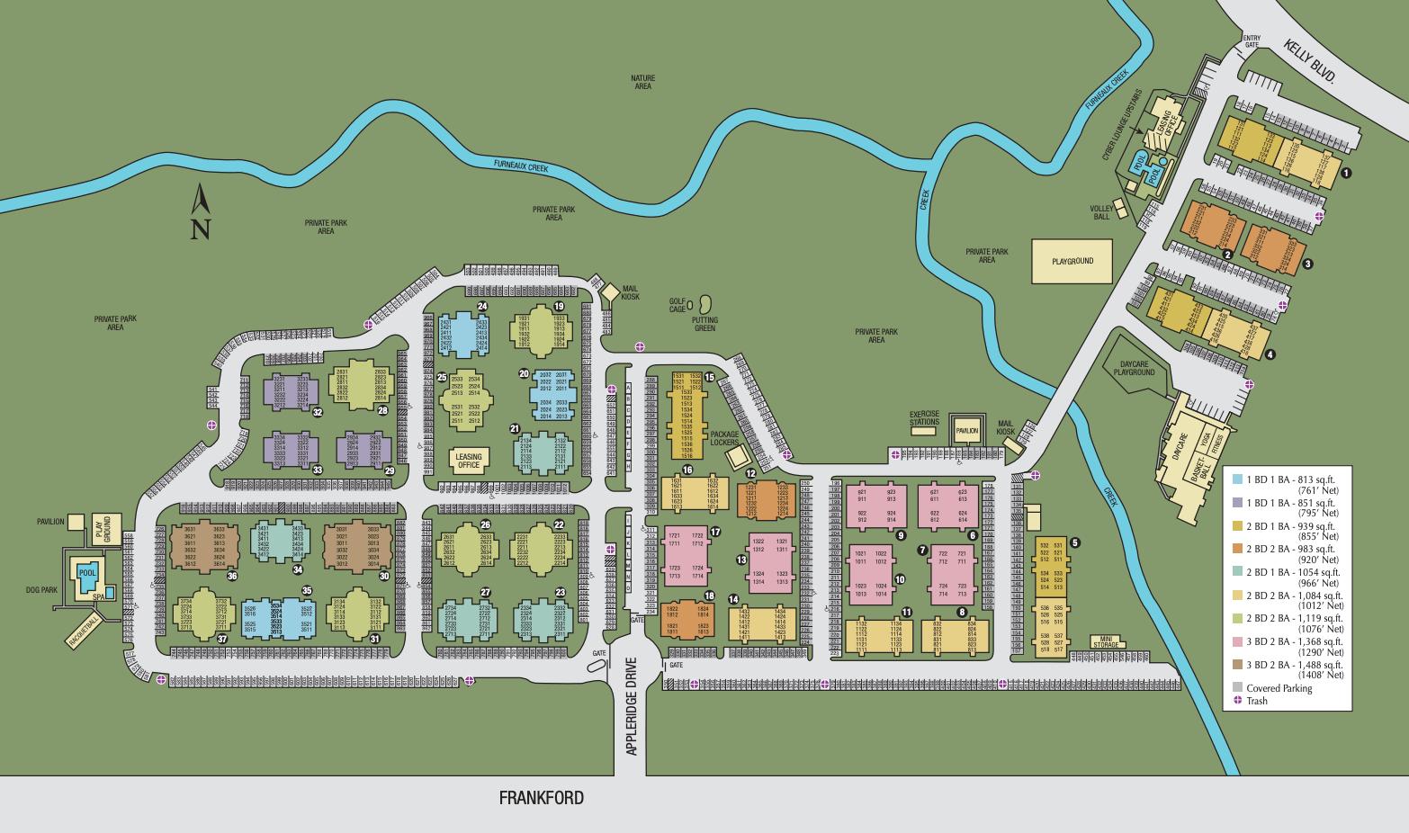 Site map of Carrollton Park of North Dallas in Dallas, TX